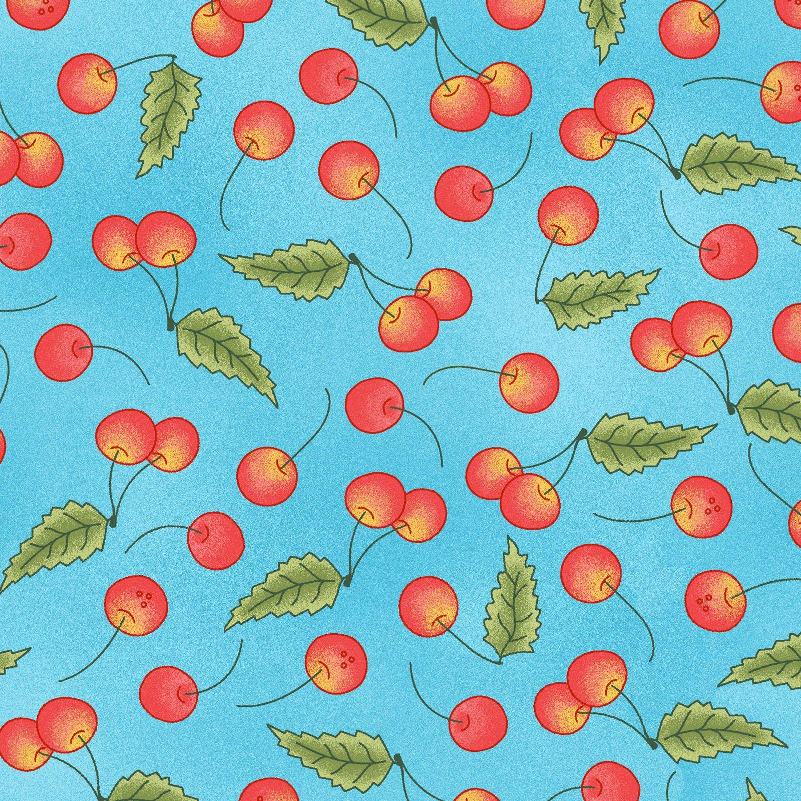 Back Porch Celebration - Cherries on Blue