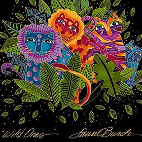 Wild Ones Flannel  - Black 2/3 yd Panel