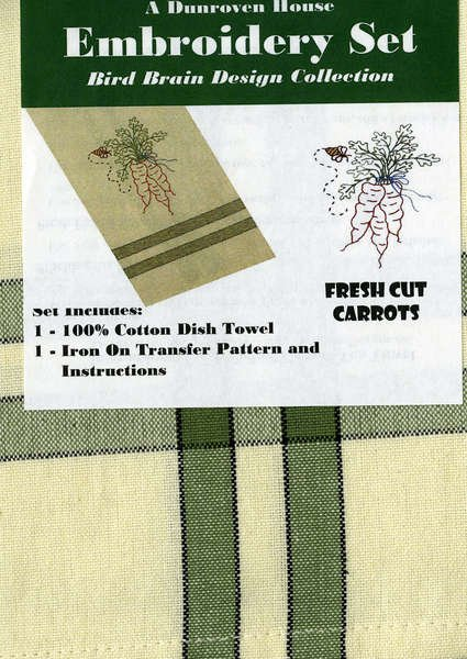 Fresh Cut Carrots Dish Towel Embroidery Set