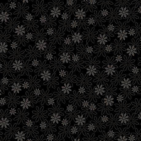 Quilting Illusions - Stencil Floral - Black 21516-J