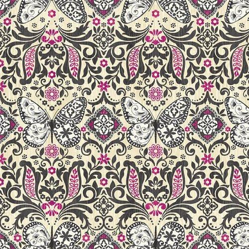 Butterfly Dreams 4716-35 Cream/Fuchsia Butterfly Damask