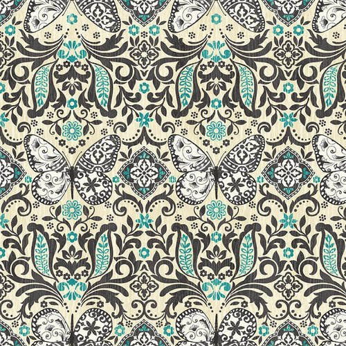 Butterfly Dreams 4716-37 Cream/Blue Butterfly Damask