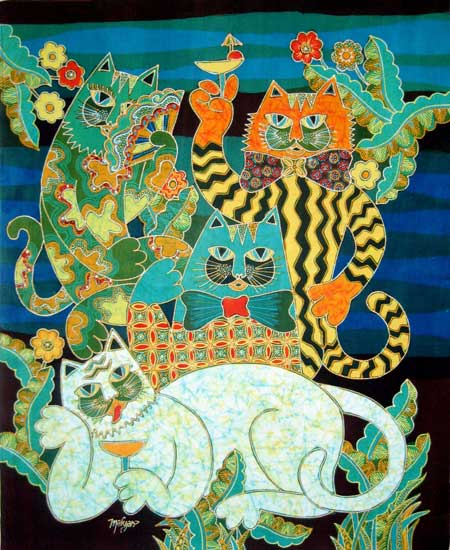 Mahyar 3 Cats in a Band 11.5 x 11.5