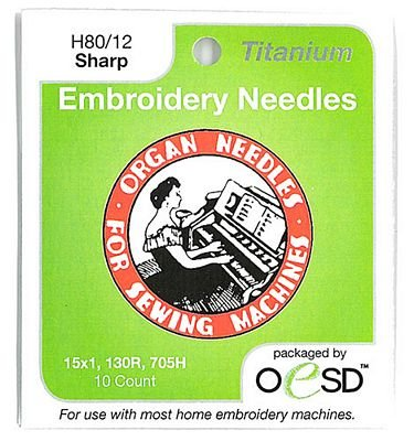 Organ Titanium Embroidery Sharp Needles 80/12 10pk