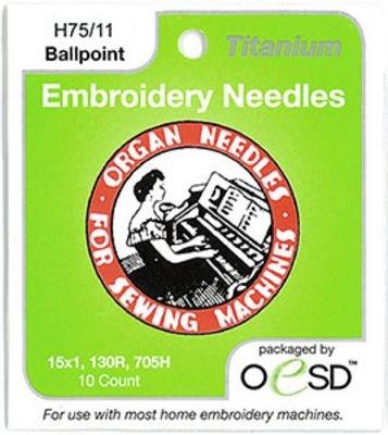 Organ Titanium Embroidery Ballpoint Needles 75/11 10pk