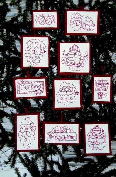 Santa Redwork Ornaments Pattern by Bird Brain Designs