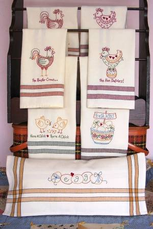 The Hen Delivers Tea Towels Machine Embroidery CD