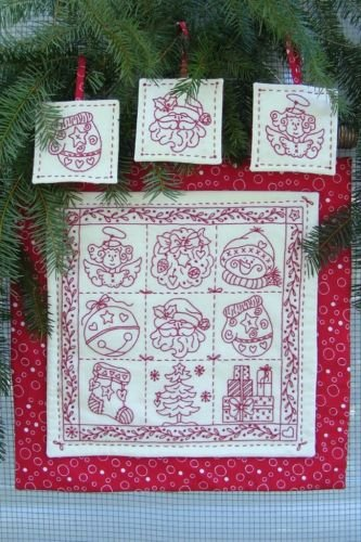 Holiday Nine-Patch Redwork Pattern by Bird Brain Designs