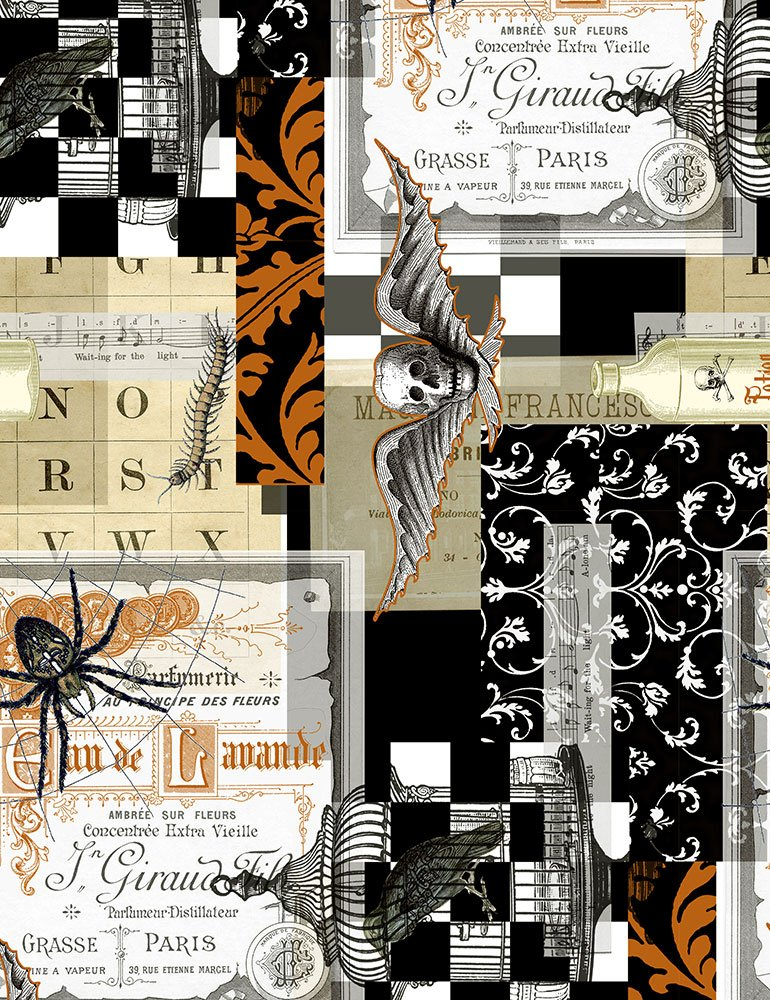 Boo Spooky Document Collage C7079-BLACK