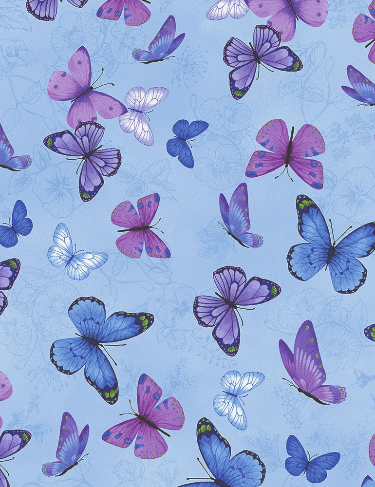 Pansy Paradise Butterflies on Etched Pansies on Vine C7725-BLUE