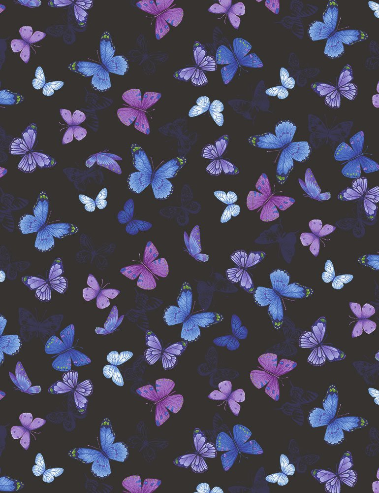 Pansy Paradise Printed Butterflies C7726-BLACK