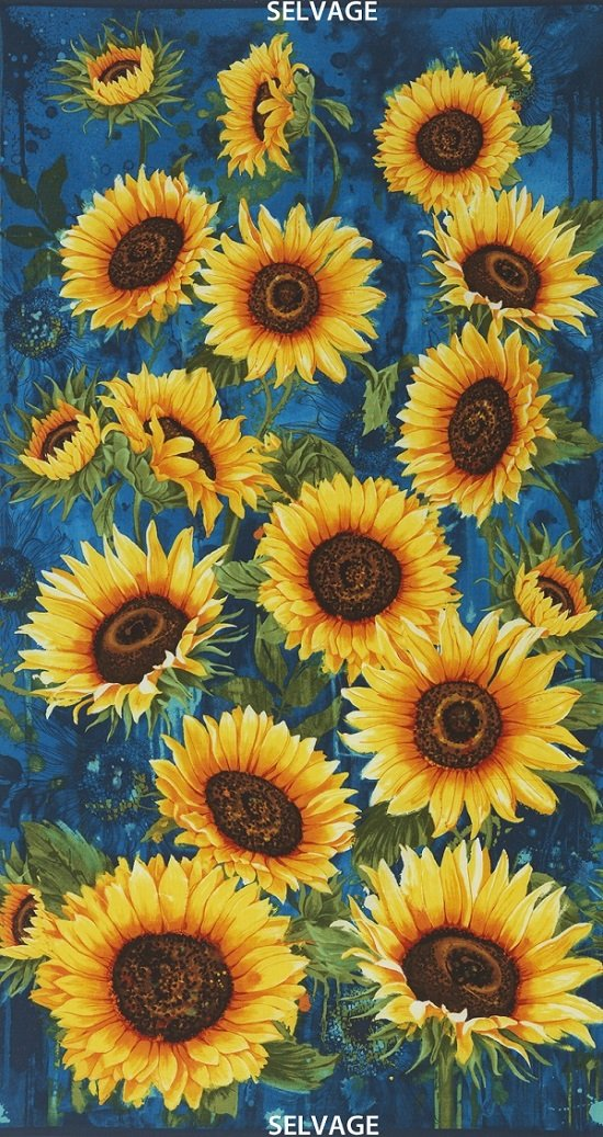 Wild Gold Large Scale Sunflowers C4344-BLUE