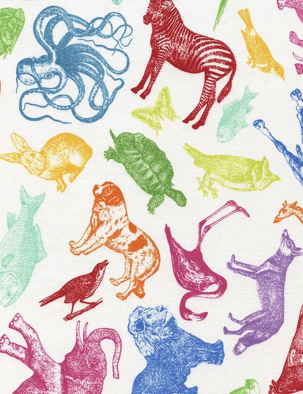 Tossed Etched Animals C4576-WHITE