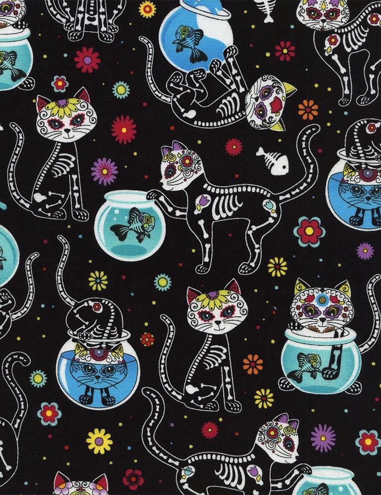Cat Skeletons & Fishbowls C4159-BLACK