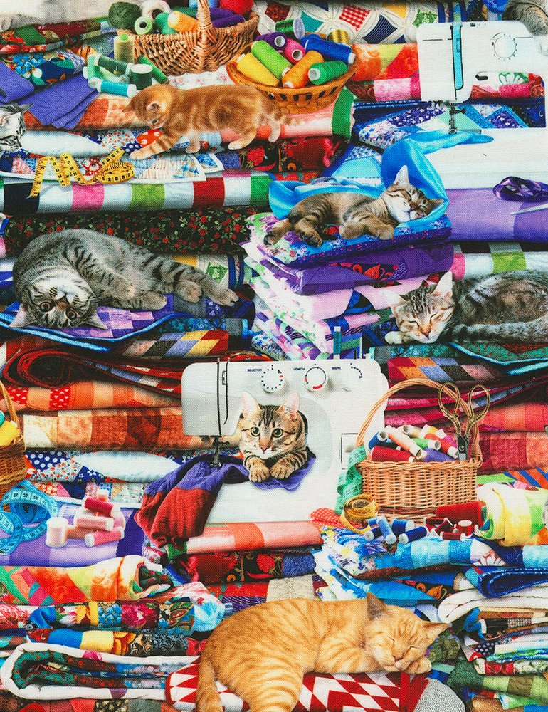 Cats on Quilts Digital Print CD6878-MULTI