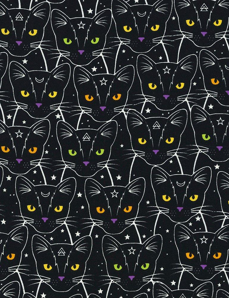Cat Star & Moon CG7018-BLACK *Glow in the Dark