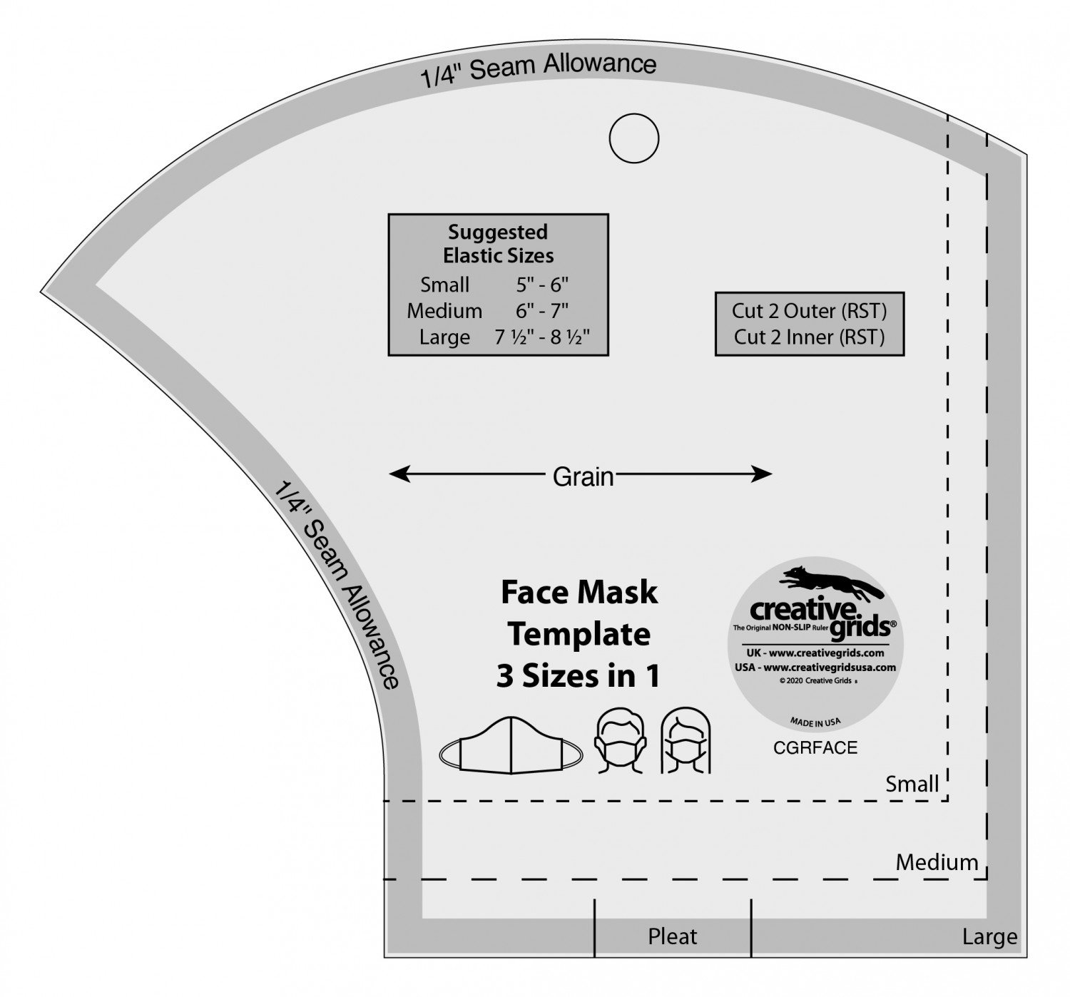 Face Mask Template (3 Sizes in 1) by Creative Grids