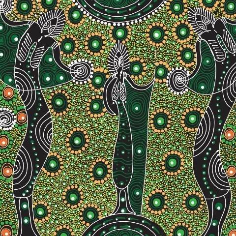 Aboriginal Dancing Spirit Green