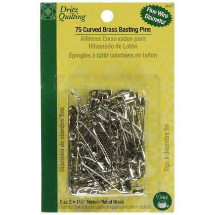 Dritz Curved Brass Basting Pins Sz 2, (75 ct)