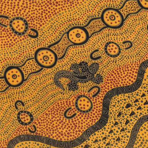 Aboriginal Goanna Dreaming Yellow