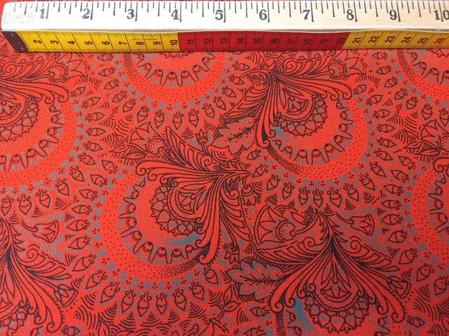 Shweshwe - Orange Large Paisley H0856-CW16