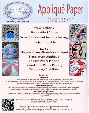 Applique Paper 20 Sheets - 8.5 x 11