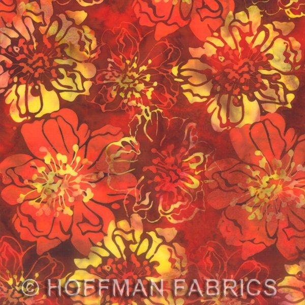 Cliff Rose Paprika - Bali Chop Hoffman Batik L2639-389