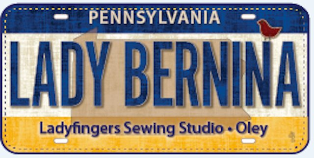 Row by Row License Plate Lady Bernina 2016
