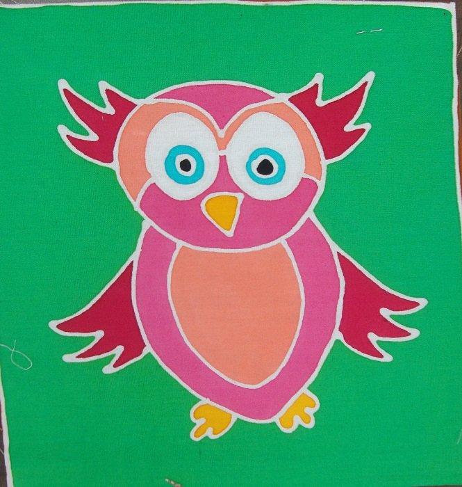 Hand-Painted Fabric [Mini Art Panel - Owl] MAP100-1
