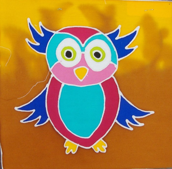 Hand-Painted Fabric [Mini Art Panel - Owl] MAP100-3
