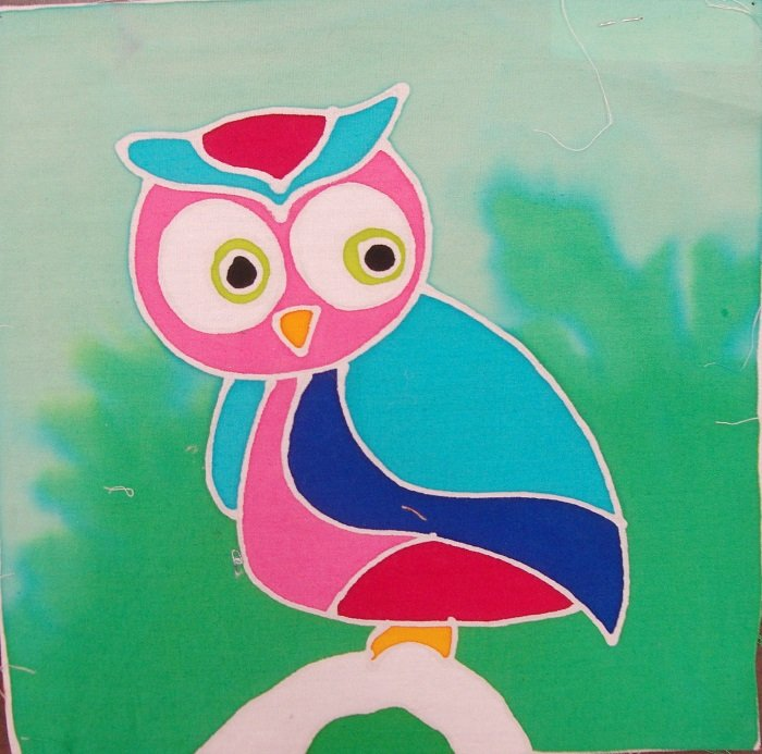 Hand-Painted Fabric [Mini Art Panel - Owl] MAP100-6