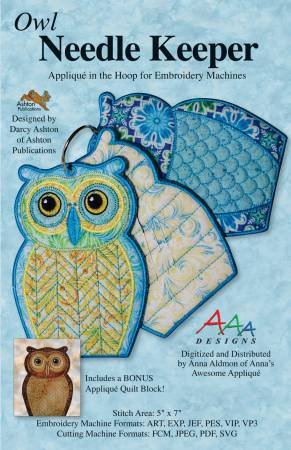 Owl Needle Keeper Embroidery Machine Applique In The Hoop