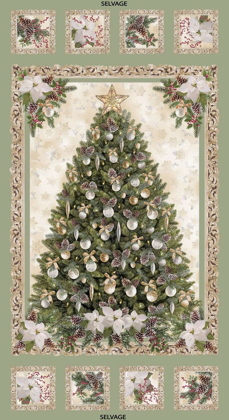 Christmas Pinecone Poinsettia Tree 24 Panel - Metallic