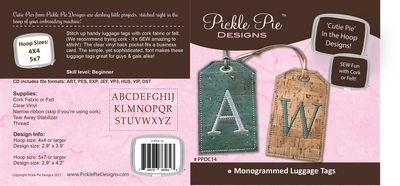 Monogrammed Cork Luggage Tags CD [In the Hoop Machine Embroidery]