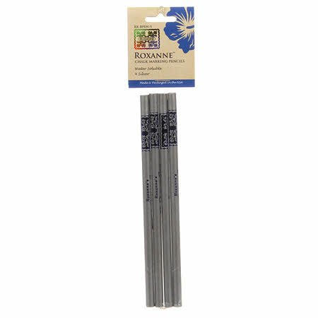 Roxanne Water Soluble Pencils Silver 4ct