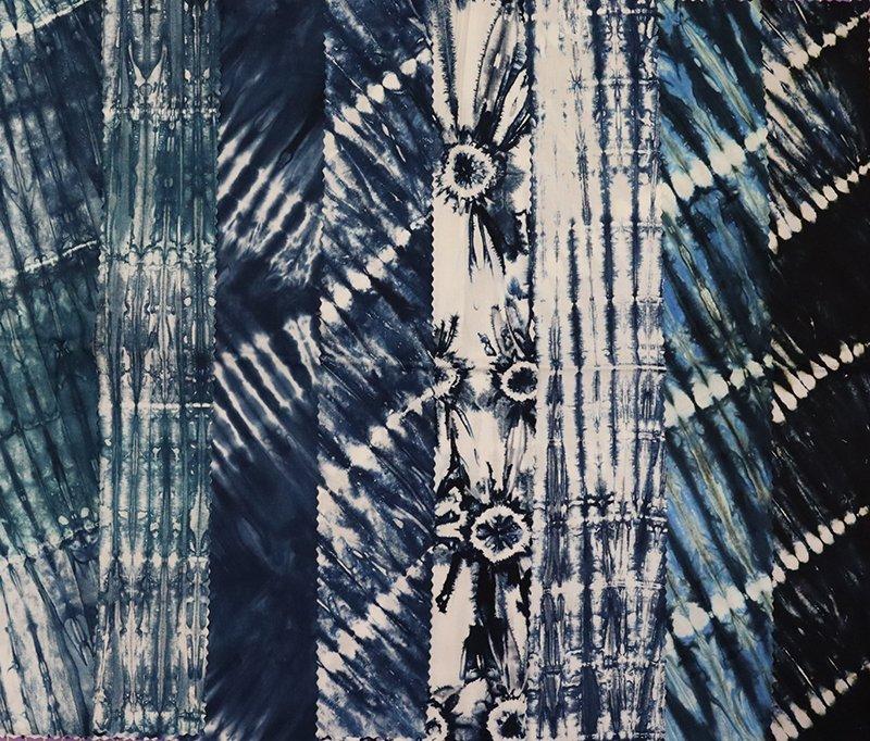 Tonga Shibori Blue 8 cuts  21x22 to 21x43 3.6yds total