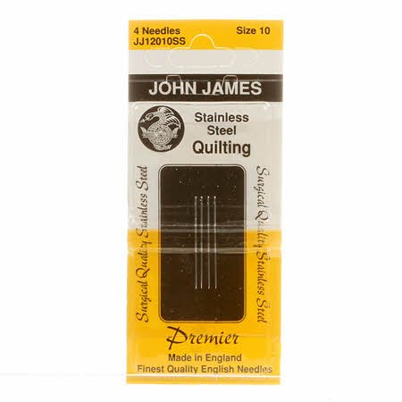 John James Stainless Steel Between / Quilting Needles Size 10 4ct