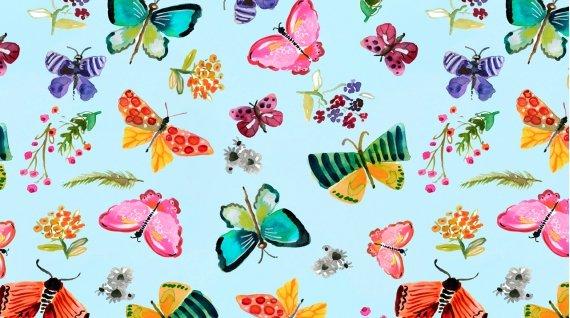 Spring Theory 1092-AQUA Butterflies