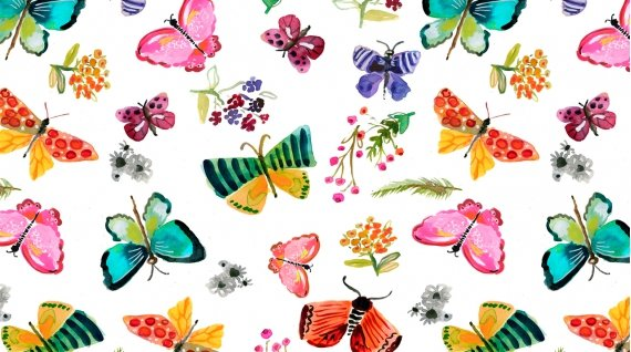 Spring Theory 1092-WHITE Butterflies