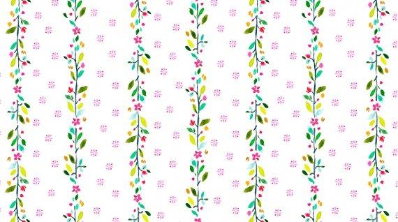 Spring Theory 1094-WHITE Flower Strip