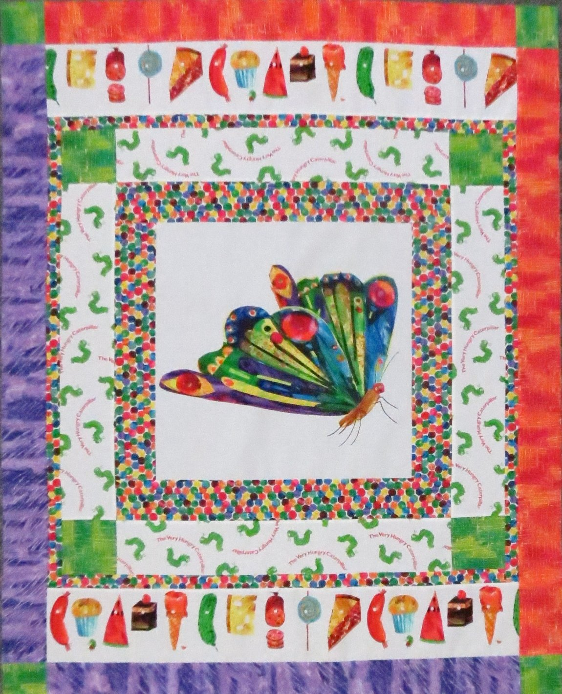 The Very Colorful Caterpillar (or Butterfly) Quilt Kit - Orange / Purple Border