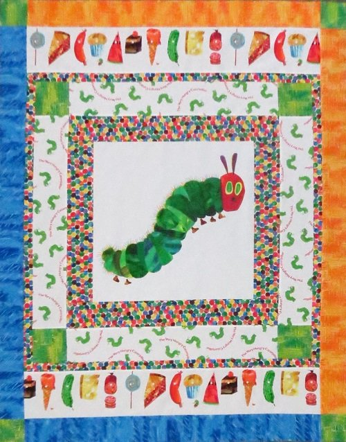 The Very Colorful Caterpillar (or Butterfly) Quilt Kit - Blue / Yellow Border