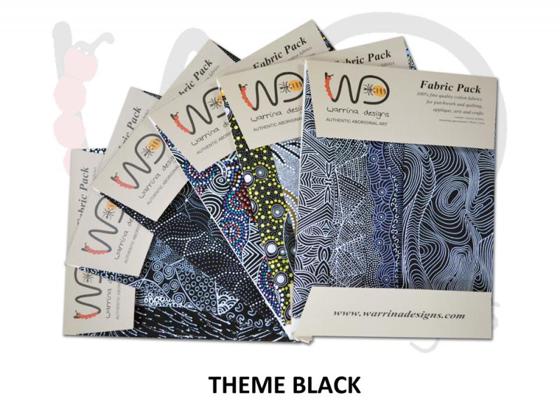 Aboriginal Fat Quarter Fabric Pack - Black