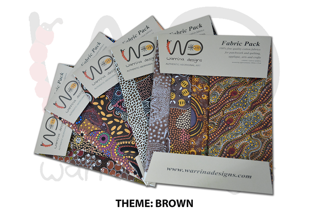 Aboriginal Fat Quarter Fabric Pack - Brown