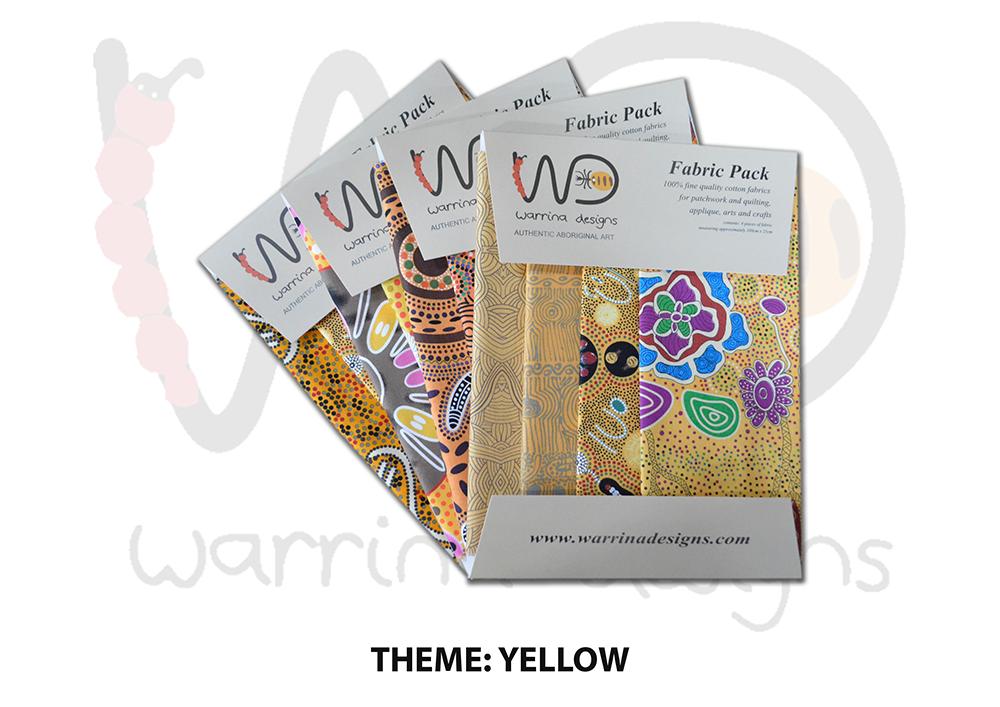 Aboriginal Fat Quarter Fabric Pack - Yellow