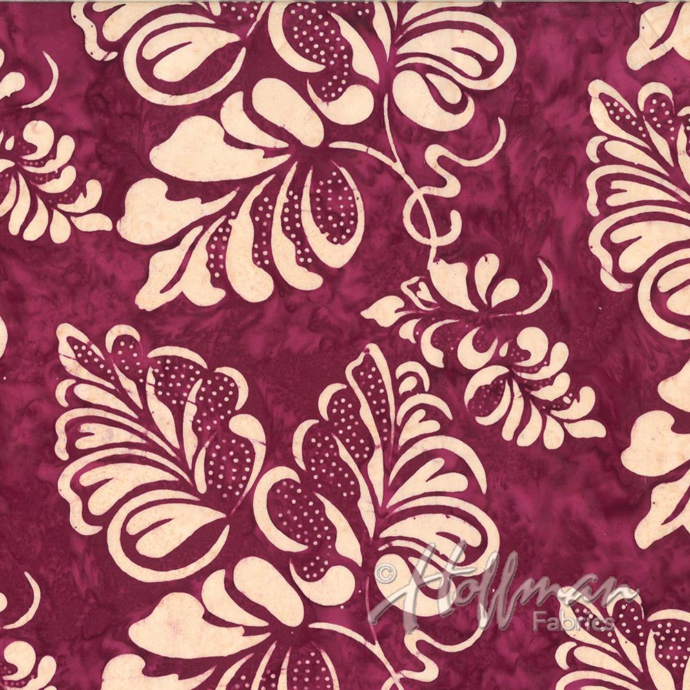 Bali Batik by Hoffman Gothic Leaf Burgundy