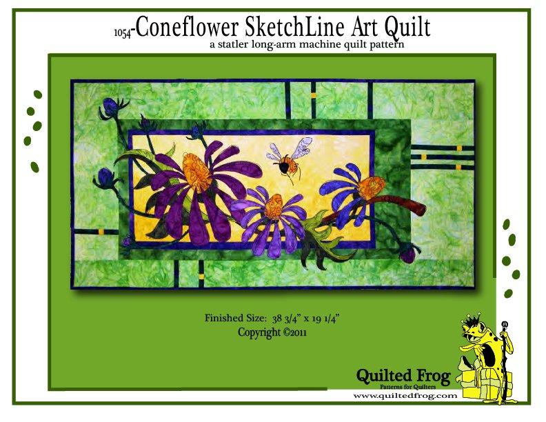 1054-Coneflower SketchLine Art Quilt