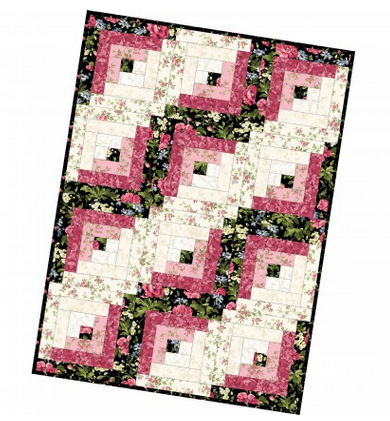 12 Block Log Cabin Quilt Poppies