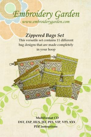 Embroidery Garden Zippered Bags Set