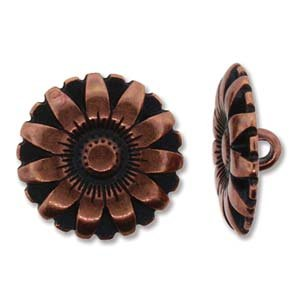 BeadSmith Button Flower Ant copper 17mm